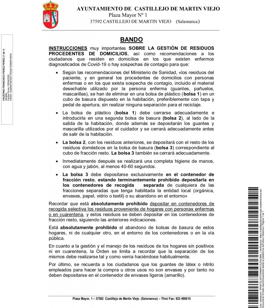 BANDO CASTILLEJO GESTION RESIDUOS CORONAVIRUS